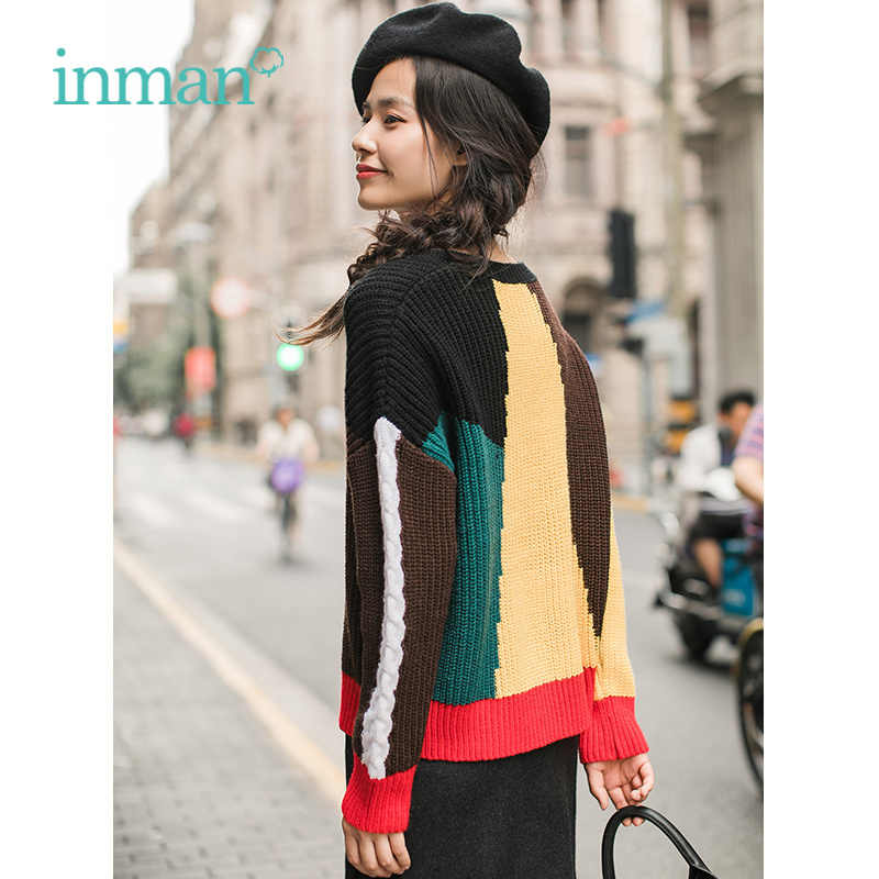 INMAN Autumn Artistic Round Collar Women Contrast Color Pullover Fashion Lady Sweater