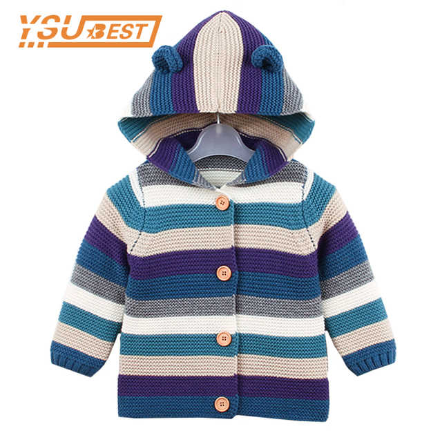 07f9774a2 Baby Girl Autumn Winter Clothes Boys Coat Striped Bear Ears Knit Jacket  Solid Color Refreshing Kids