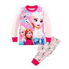 2016 Casual Girl's Clothing Sets Autumn Anime Elsa Anna T-Shirts Olaf Pants Girl Clothes Movie Cartoon Pajamas Sport Suits