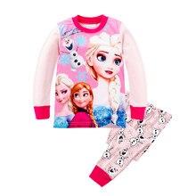 42d8601bbb1 Одежда для девочек комплекты осень аниме Эльза Анна пижамы наборы футболки  Олаф брюки девушка одежда фильм пижамы с рисунками сп.