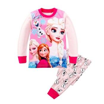 9abe8e14d Conjuntos de ropa de niña otoño Anime Elsa Anna pijamas conjuntos camisetas  Olaf pantalones ropa de niña película pijamas de dibujos animados ...