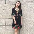 2016 mulheres vestido de verão Turn-down Gola xale metade Mangas do Casaco de Paetês Arco bordados de Flores elegante vestido preto vestidos