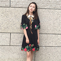 2016 women summer dress   Turn-down Collar shawl half Cloak Sleeves Sequin Bow embroidery Flowers black elegant dress vestidos