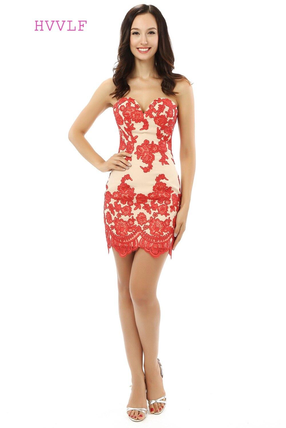 Red Elegant Cocktail Dresses Sheath Sweetheart Satin Appliques Lace Short Mini Homecoming Dresses 2019