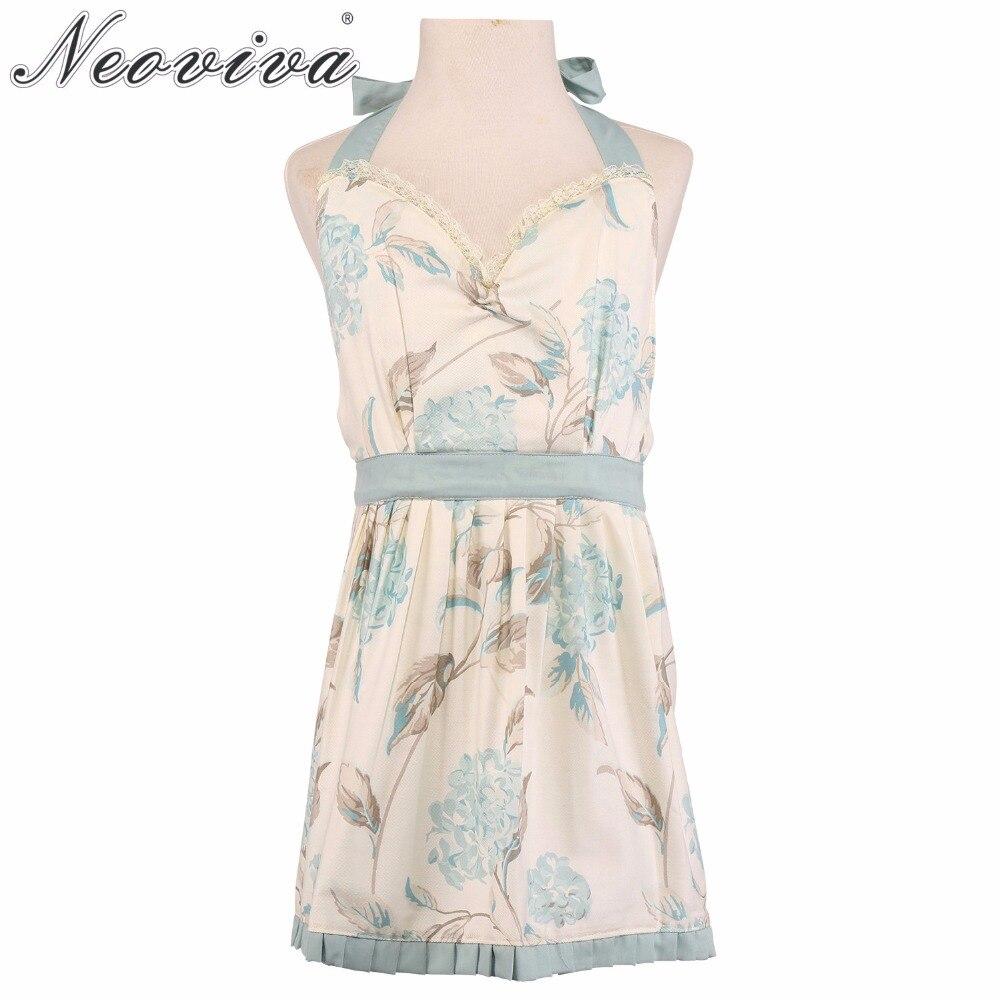 Neoviva Cotton Twill Garden Dress Apron for Kid Girls, Style Little Laura, Floral Hydrangea Clear Blue Halter Aprons Waist Aqua
