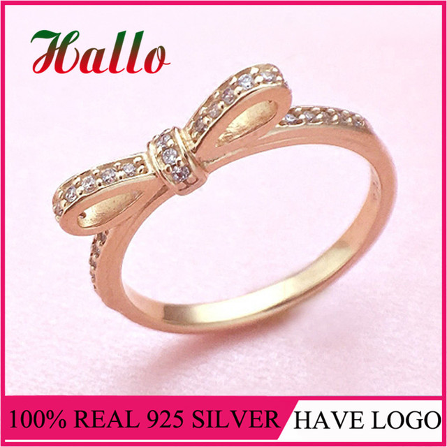 Women Rose Gold Plated Sparkling Bow RingFashion Wedding Rings for