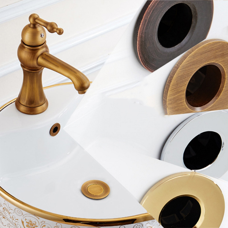 Antique Gold Black Bathroom Overflow Covers Basin Sink Round Brass Replacement Lavatory Hole Overflow Cover Home Decorative