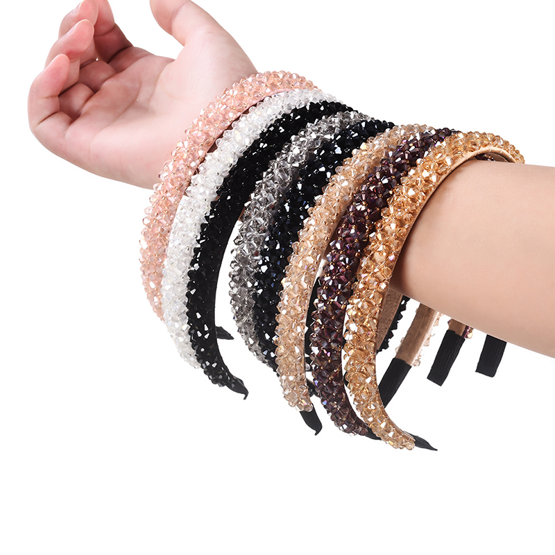 M MISM Girls Shiny Luxury Rhinestone Hair Band High Quality Diamond Hair Hoop Accessories For Women Crystal Headbands Ornaments(China)