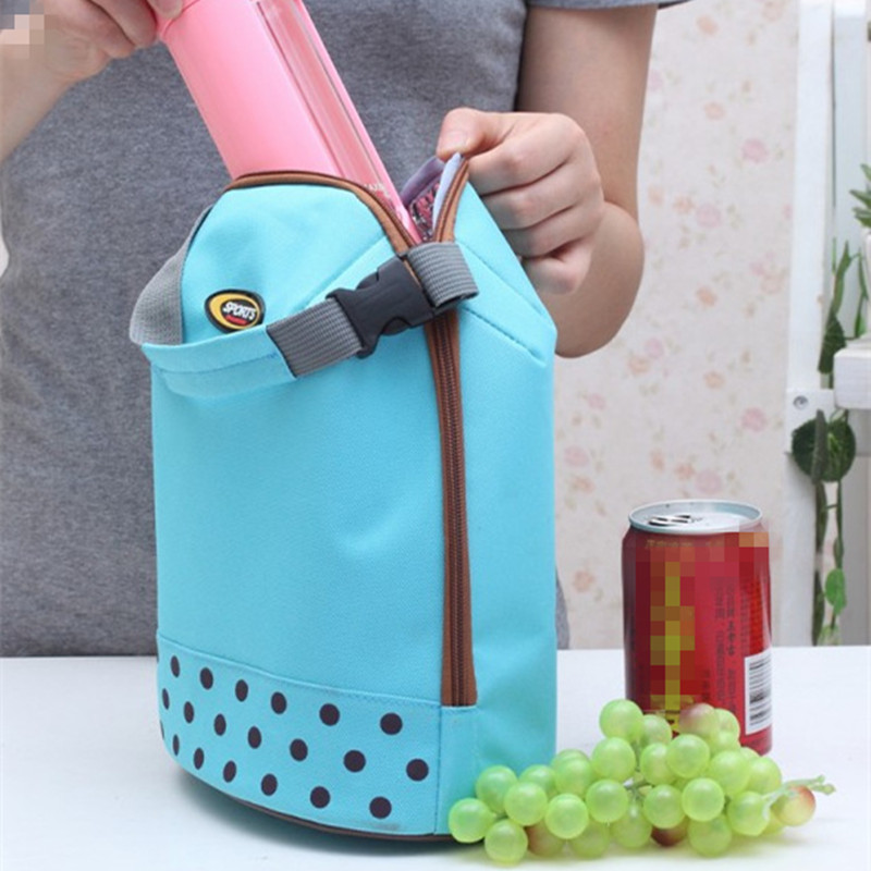 Casual Lunch Bag Container Tote Blue Dot Thermal Insulated Cooler Dining Travel Picnic Bag Portable Bento Pouch Zipper in Lunch Bags from Luggage Bags