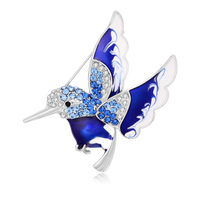 Cheapest Factory Direct Sale Enameled brooches White /green crystal Rhinestones Fly Bird Brooch Pins blue red & Green for c