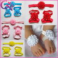 Baby Girl Satin ribbon Foot Flowers With Headband Set floral Elastic Headbands Hairwear Children Kids Accessories  CN-14062843