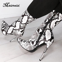 MAIERNISI Snake Print Women Zip Boots thin high Heels Sexy Pointed Toe Female Boots Sexy Ladies Shoes Winter Chelsea Boot недорого