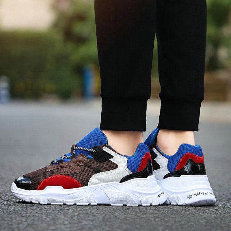 2019 Mesh Breathable Tennis Running Shoes Outdoor Breathable Sport Shoes Men Sneaker Thick bottom Comfortable Flats HC 40Z