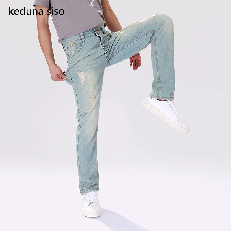 fashion 2017 new arrival men jeans slim snake skin printing casual pants 3d trousers skinny denim pants masculina fashion jeans Keduna siso New Arrival  Summer Jeans Hole Denim Trousers Men's Straight Skinny Jeans Men Slim Casual Pants Ripped Jeans For Men