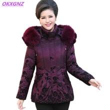 Middle-aged Women's Winter Down Cotton Jackets Print Mother Coats Fashion Hooded Fur Collar Parkas Plus size Casual Coats OKXGNZ