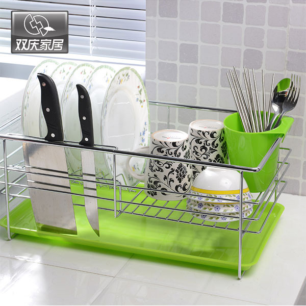 Stainless Steel Plate Dish Cutlery Cup Drainer Rack Drip Tray Plates Holder Silver Kitchen Storage Shelf & Stainless Steel Plate Dish Cutlery Cup Drainer Rack Drip Tray Plates ...
