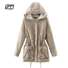 Новинка 2017 г. зимние женские Куртки хлопковой подкладкой средней длины тонкий с капюшоном парки Повседневная стеганая одеяло зимние верхняя одежда теплое пальто