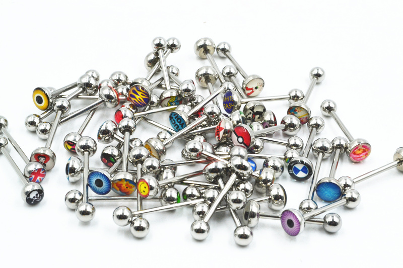 300pcs Body Piercing Logos Tongue Ring Bar Tongue Nipple Barbells Body Jewelry 14G Mix about 20