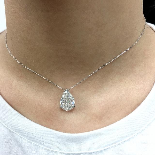 3 Carat Pear Black Moissanite 14K White Gold Necklace Pendant Test Positive Moissanite Diamond For Women