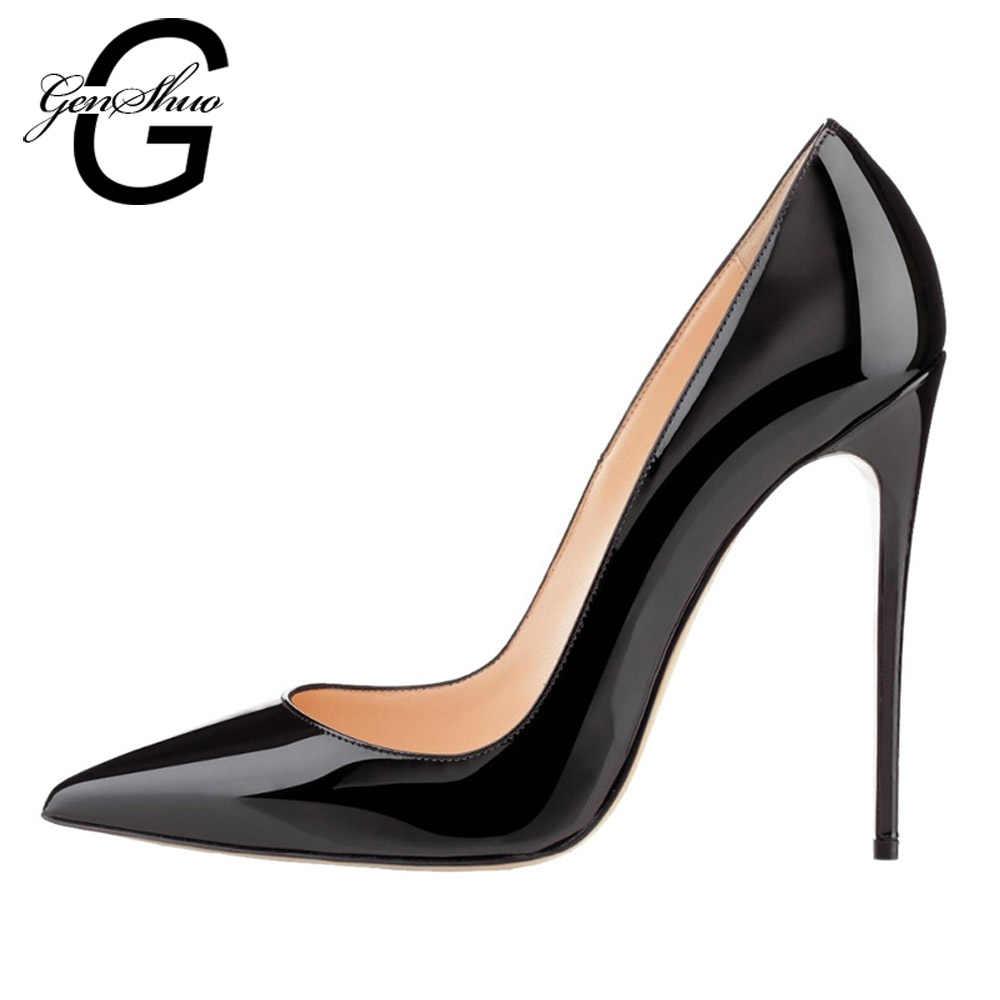 GENSHUO de mujer de tacón alto bombas de oficina negro zapatos de punta de  cuero de e2249ce2e68b