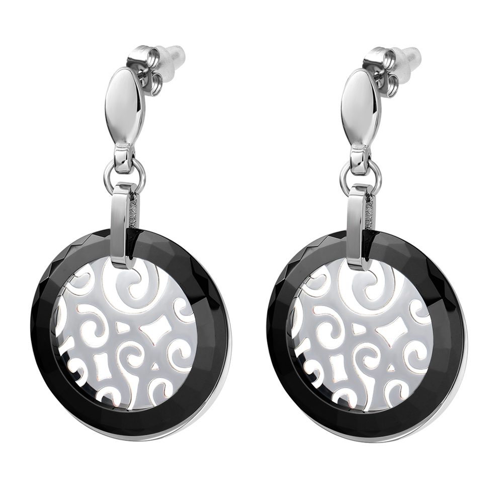 New Arrival Stainless Steel Jewelry Earring For Women with Classic Simple Design Black Ceramic Dangle Earring