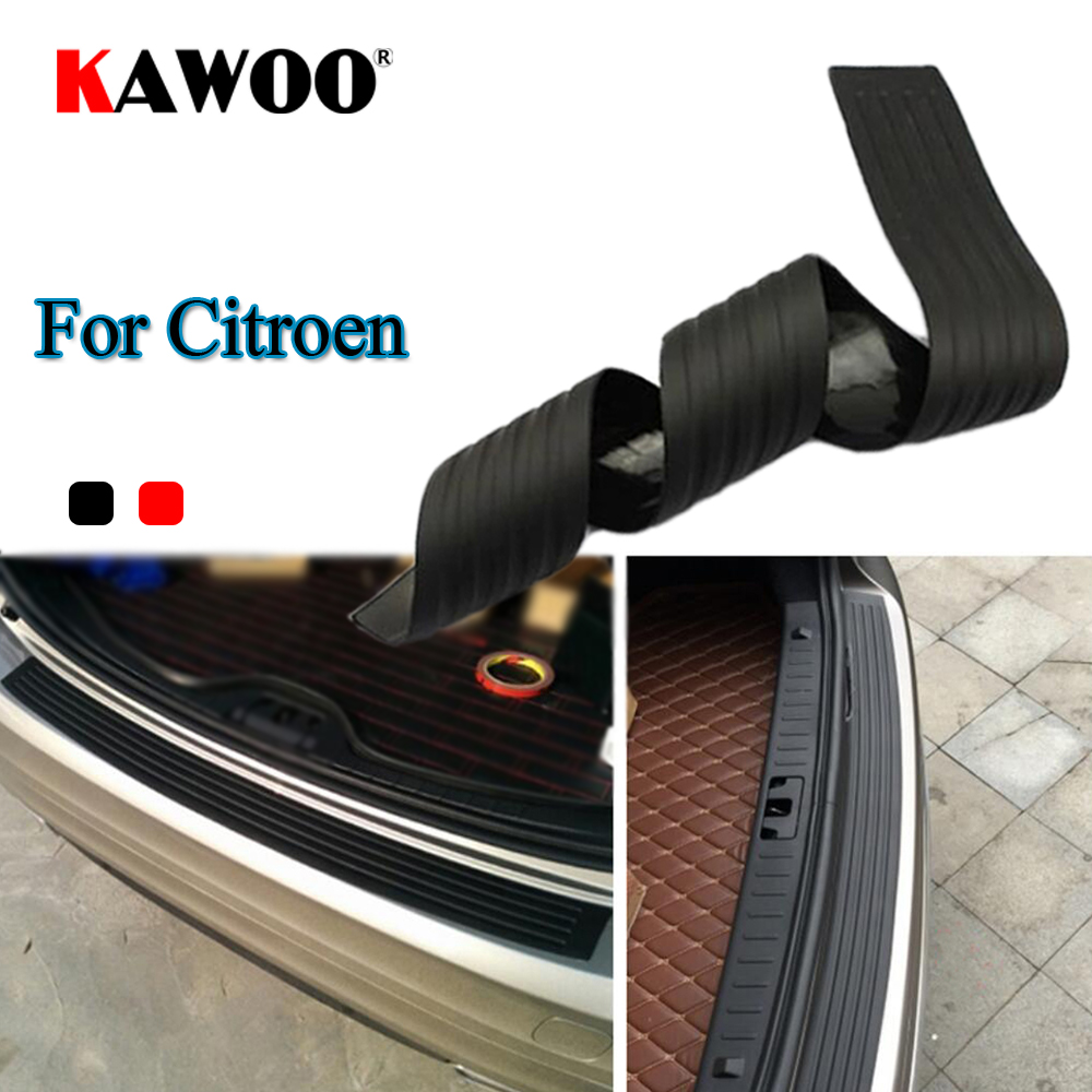 KAWOO For Citroen C3 C4 C5 DS4 Picasso Jumper Nemo C-Quatre Rubber Rear Guard Bumper Protect Trim Cover Sill Mat Pad Car Styling for citroen c4 picasso ud