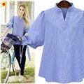 Extra Grande Tamanho Elegante Casual Mulheres Camisetas 2016 Verão de Moda de Nova Listrado Com Decote Em V Soltas XL-5XL Plus Size Camisetas Venda Quente