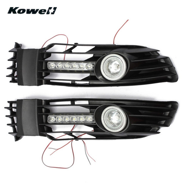 kowell fog lights grille for volkswagen passat 2000-2005 +switch +wiring  harness bumper car lamps lights led driving bulb drl