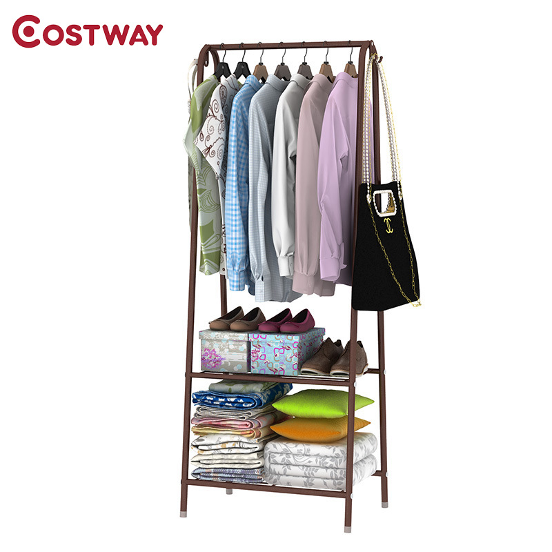 COSTWAY Simple Clothes Coat Rack Bedroom Floor Hanging Clothes Storage Shelves Balcony Multi-functional Drying Racks W0113 coatrack landing racks shoe rack bedroom clothes rack multi function dryer