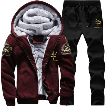 Casual Tracksuit Mens set Winter Brand Two Piece Sets All Cotton Inner Fleece Thick Hooded 2PC Jacket + Pants Sporting Suit Male 1