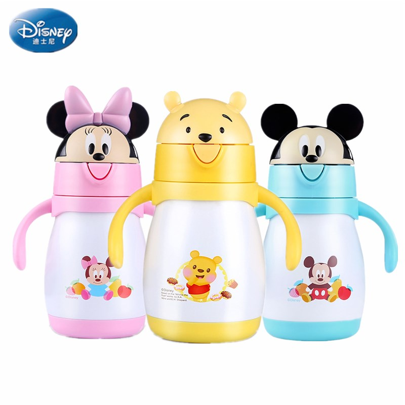 240ml Disney Baby Thermos Bottle Feeding Cup with Straw Vaccum Thermos Children's Minnie Water bottle Travel Bebe copo 240ml baby drinking water bottle cups with straw portable feeding bottle cartoon water feeding cup with the handle for baby hot