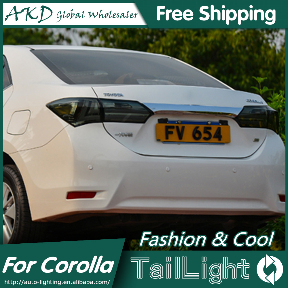 Akd car styling for toyota corolla tail lights 2014 new corolla led tail light altis rear lamp drl brake park signal in car light assembly from automobiles