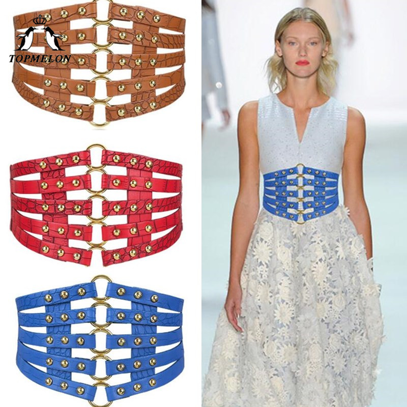 TOPMELON Punk Belt Ladies Leather Rivets Elastic Strap Women Hollow Out Wide Band Fashion Slimming Belts for Dress