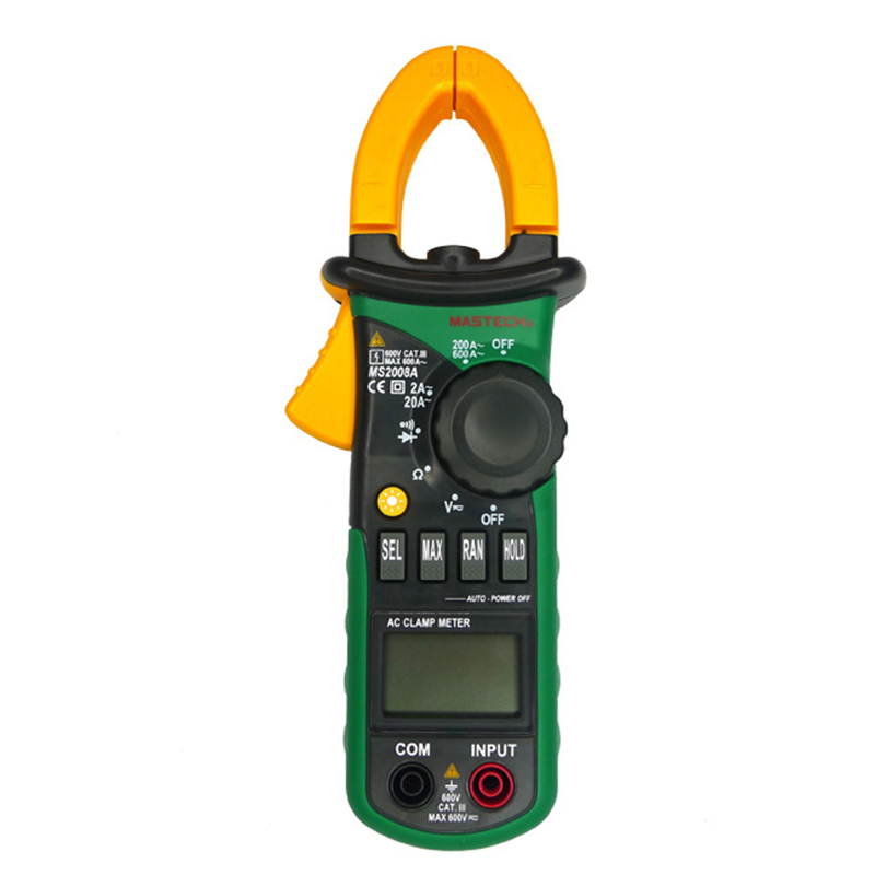 MASTECH MS2008A Auto Range Digital AC Clamp Meter 2000 Counts Ammeter Voltmeter Ohmmeter LCD Display Current ACDC Voltage Tester  цены