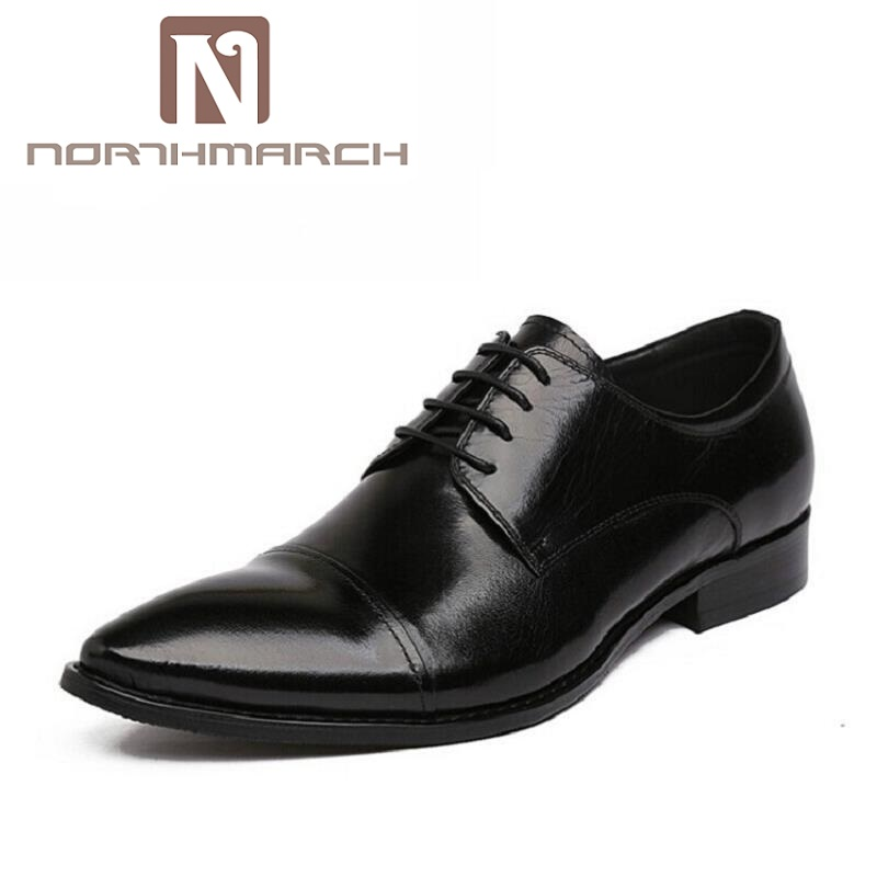 NORTHMARCH NEW Brand Genuine Leather Men Oxfod Shoes Lace-Up Casual Business Wedding Shoes Men Pointed Toe Comfort Shoes