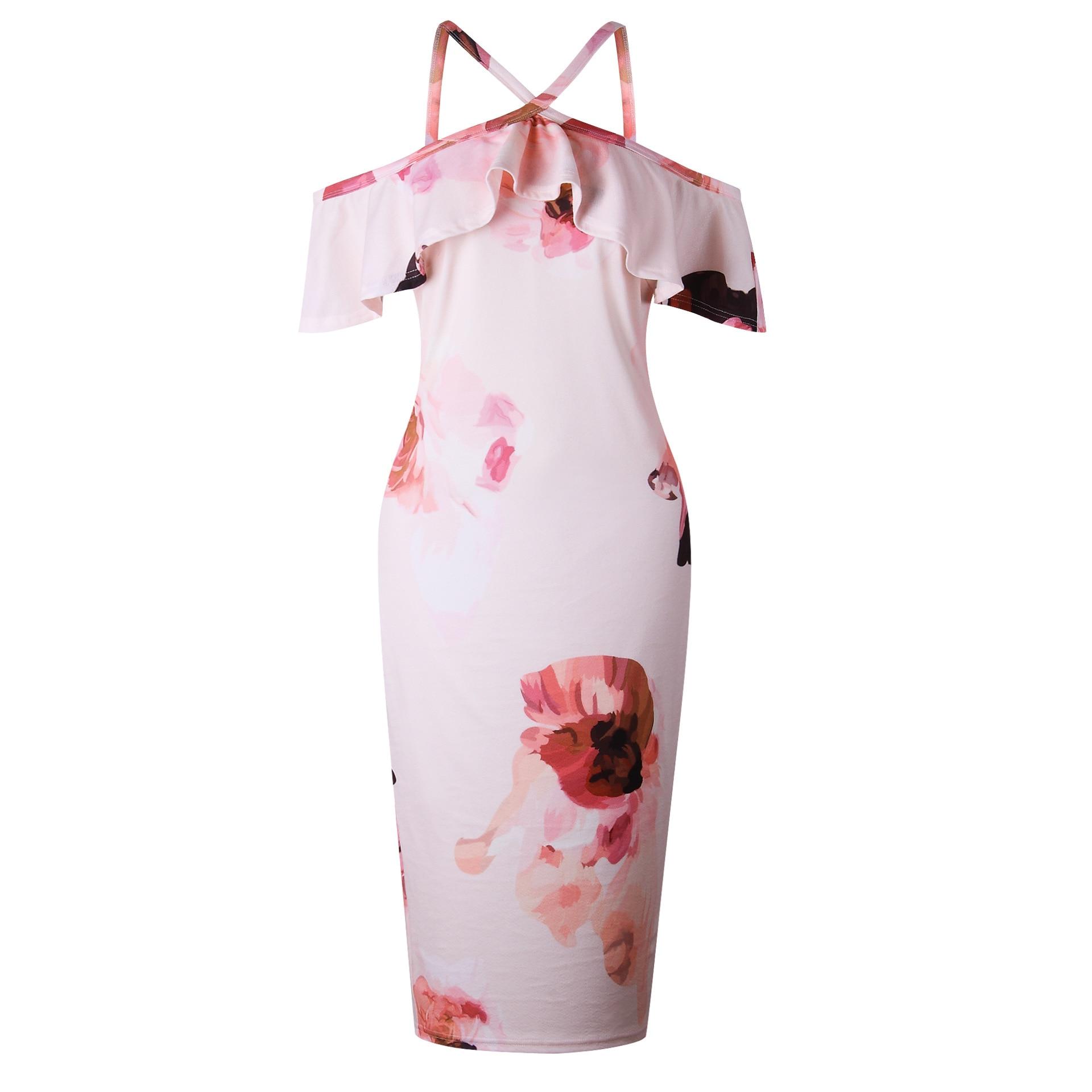 LOGAMI Off Shoulder Retro Floral Print Bodycon Dreess Women Sexy Summer Dress Sexy Midi Wrap Party Dresses