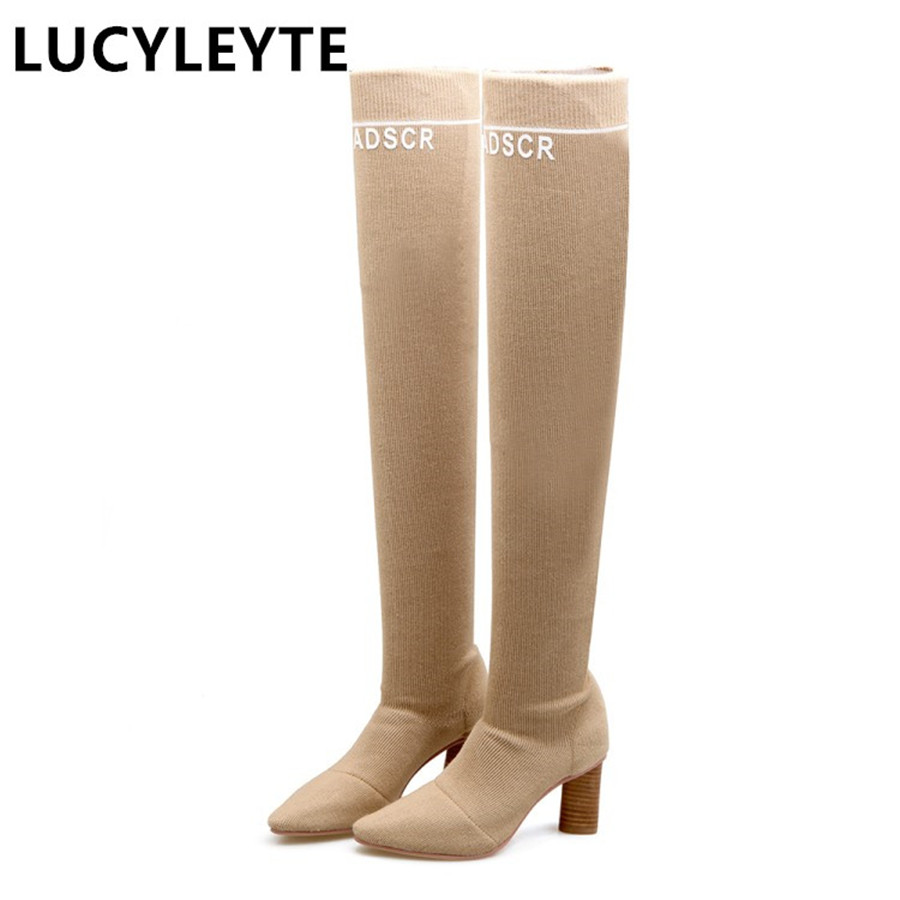 купить  Europe and the United States style weaving shoes pointed knees boots non-slip rubber at the end of coarse grain with boots  по цене 2805.11 рублей