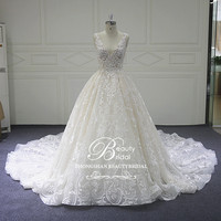 Luxury backless wedding dress custom made Chapel Train lace shoulders Vintage with Crystal bridal gown XF18016