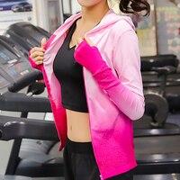 Lorun長袖ヨガtシャツ女性カジュアルエクササイズ通気性勾配カラースポーツジャケットコートジム服ランニングスポーツウェアトップ
