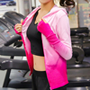 Long Sleeve Yoga T Shirt Women Plus Size Yoga Tops Breathable Gradient Color Sport Jackets Coat