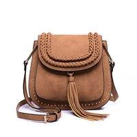 New Women Messenger Tassel Bag Hollow Out Bolsa Feminina Bolso Mujer PU Leather Shoulder Purse Handbags