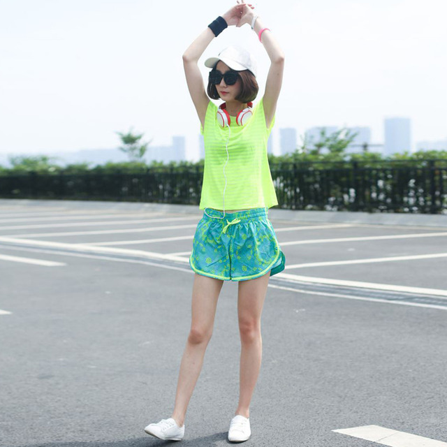 Women Sports Digital Printing Running Yoga Fitness Shorts Quick-Drying Jogging Shorts Outdoor Sports Training Shorts new