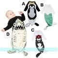 Saco de Dormir do bebê Pinguim/Urso/Tubarão/Sereia Padrão Sacos de Dormir Infantis Meninos Meninas Outono Primavera Manga Comprida YH-17