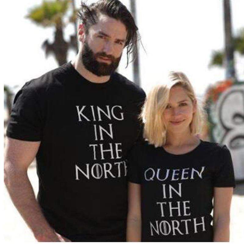 Funny Tshirts Femme Tops Tee Game of Thrones <font><b>King</b></font> <font><b>Queen</b></font> In The North <font><b>T</b></font> <font><b>Shirts</b></font> Valentine Men Women Couple Clothes Lovers <font><b>T</b></font>-<font><b>Shirts</b></font> image