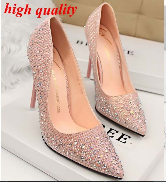 10a89f1784a6 Women silver heels Rhinestone wedding shoes Sexy heels Pointed Toe high  heels Dress Shoes pumps pink party shoes for women Y613