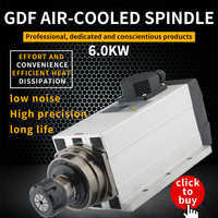 HQD 6kw square air cooling future engraving machine spindle motor four bearing woodworking machine accessories