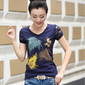 Tops de verano 2017 T Camisa de Las Mujeres Diamantes Gráfico Camiseta Del Remiendo Del Cordón de Impresión T-Shirt de Manga Corta de Algodón Casual Camiseta Femme