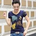 Verão 2017 Encabeça T Shirt Mulheres Diamonds Imprimir T-Shirt Manga Curta Tshirt Gráfico Rendas Retalhos de Algodão Casual Camiseta Femme