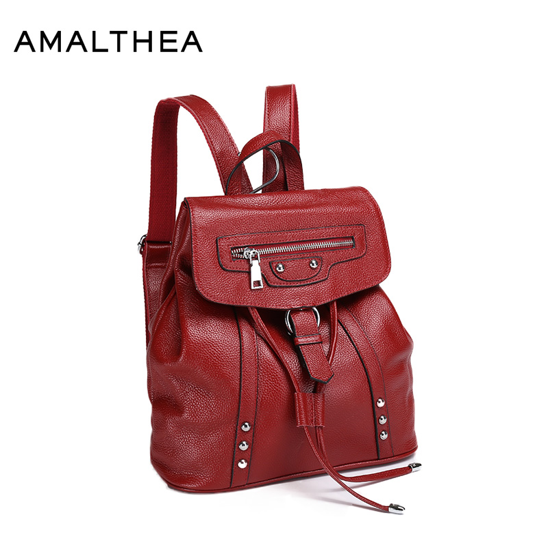 AMALTHEA Brand Fashion Genuine Leather Backpack Women 2017 School Bags Bagpack Cover Woman Back Pack Drawstring Bag New AMAG030