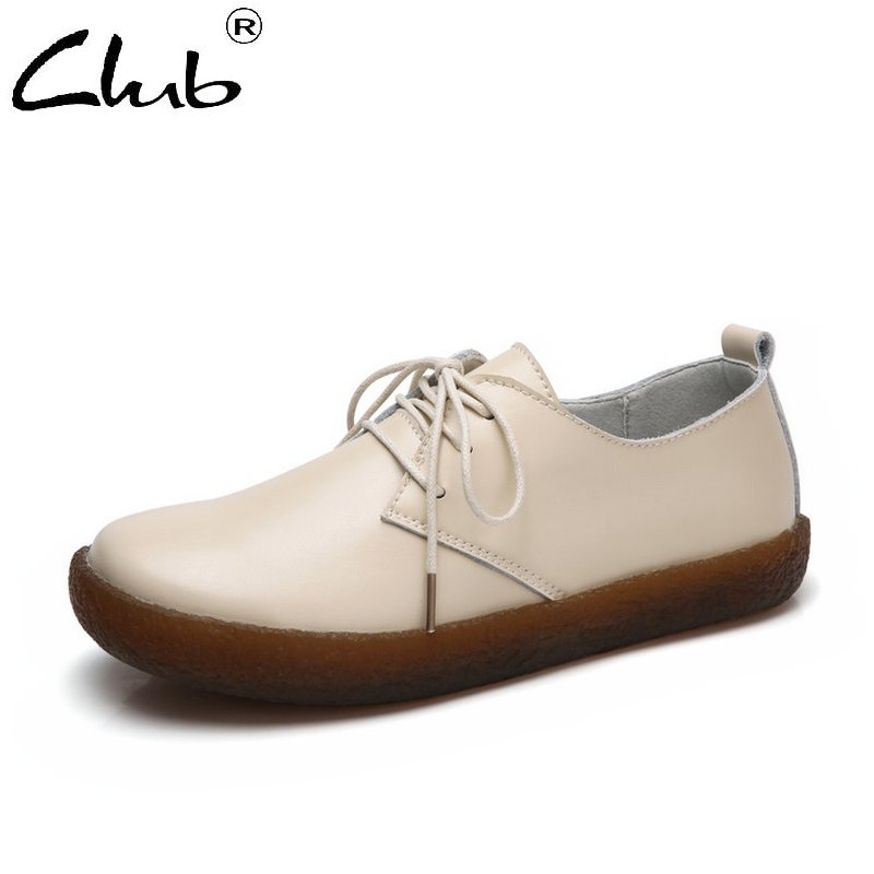 Club Brand Women Shoes Genuine Leather Flat Shoes Women Lace-up Casual Sneakers Women Spring Oxfords Shoes Zapatos Mujer cangma italy deluxe brand women men casual golden shoes zebra silver genuine leather low sstar smile goose shoes zapatos mujer